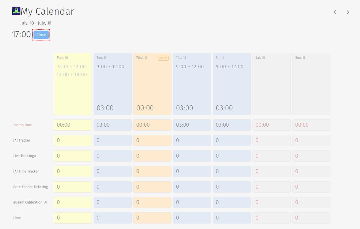 Tracker: Personal calendar
