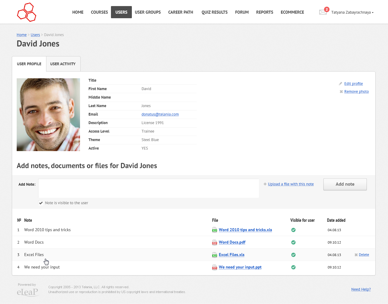 LMS - user profile